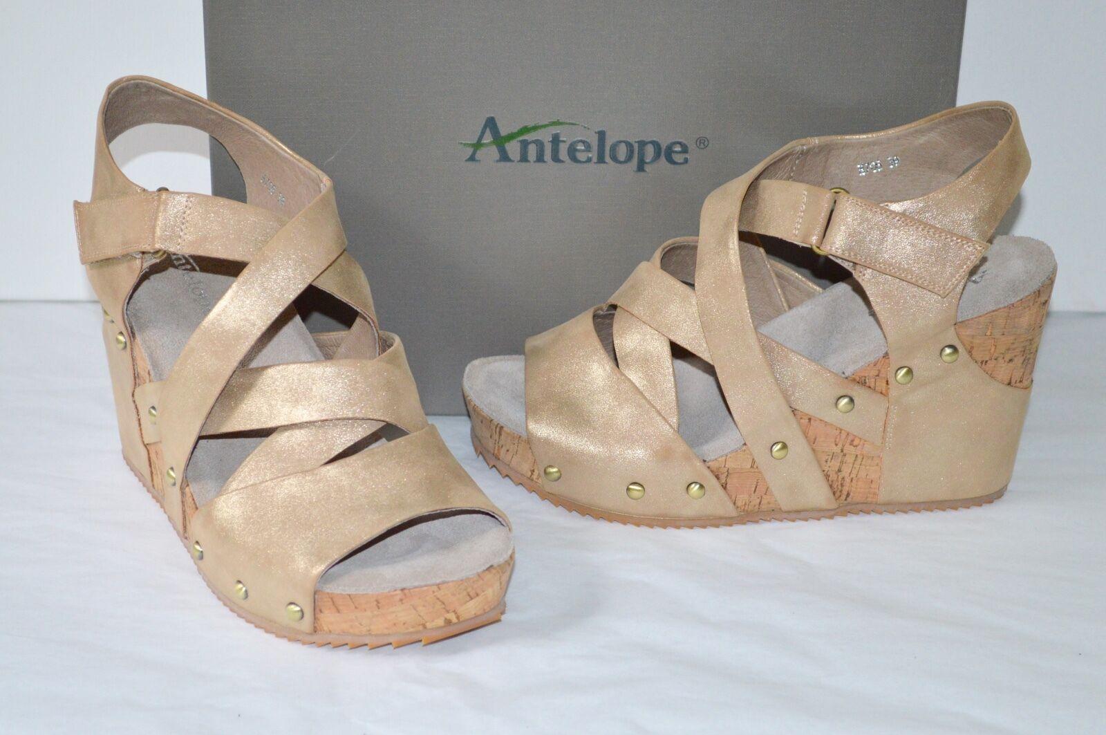 be58a938f1 Buy Womens Antelope 706 Criss Cross Wedge Sandal Metallic Leather ...