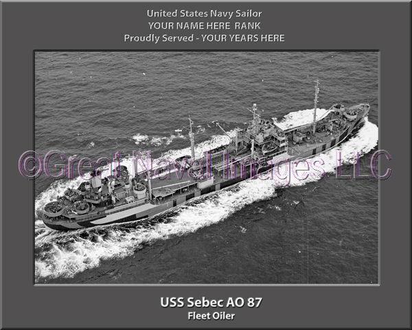 USS Sebec AO 87 Personalized Canvas Ship Photo Print Navy Veteran Gift