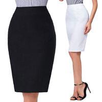 Womens Knee Length High Waist Stretch Pencil Skirt Formal Office Lady Fit Dress