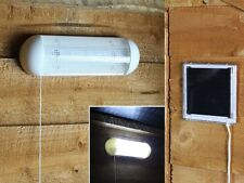 NEW 5 LED SOLAR POWERED RECHARGEABLE GARAGE SHED LIGHT GARDEN OUTDOOR SECURITY
