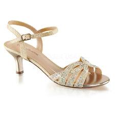 Gold Rhinestone Low Kitten Heels Junior Bridesmaid Vintage Bridal Shoes 6 7 8 9