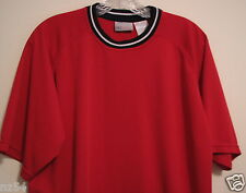 Reebock Red Polyester L Crewneck T Shirt Navy Blue & White Banded Knit Collar