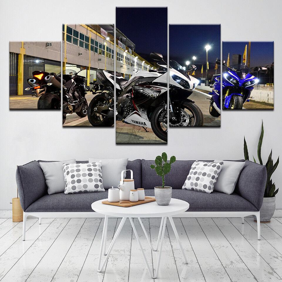 Sports Bike Motorcycle 5 Panel Canvas Print Wall Art