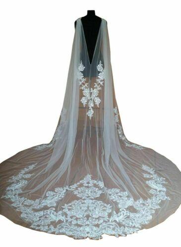 Cathedral Wedding Cape Bridal Jacket Cloak 3M Long Lace Shoulder Veil Plus Size
