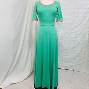LuLaRoe-Ana-Women-s-Small-Dress-Maxi-NEW-Green-Pink-Long-Short-Sleeve-b