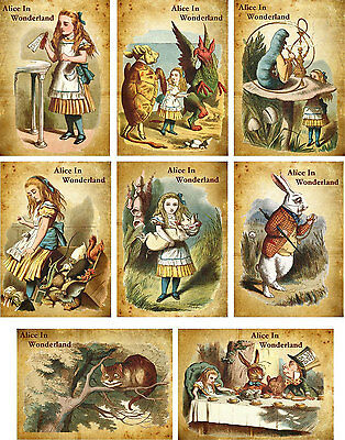 Vintage inspiried Alice in Wonderland small note cards tags ATC altered art s/8