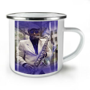 Saxophone Musician NEW Enamel Tea Mug 10 oz | Wellcoda