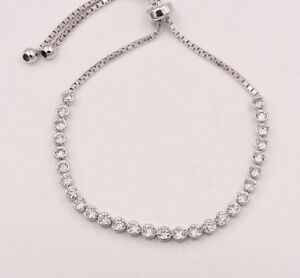 2.8mm Cubic Zirconia CZ Crystal 925 Sterling Silver Sliding Lock Tennis Bracelet