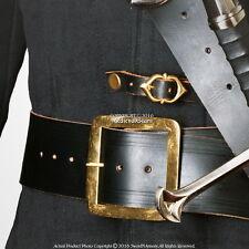 "59"" Genuine Leather Pirate Belt Brass Buckle Medieval Renaissance Costume LARP"