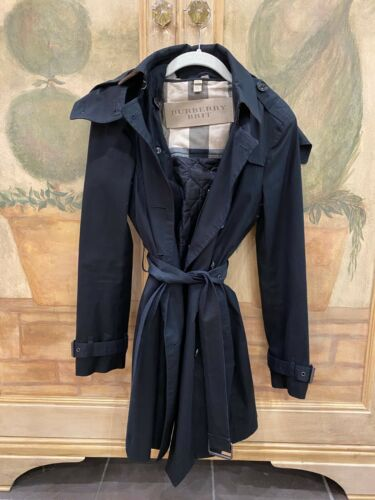 Burberry Ladies Black Trench Coat Size 4 Removable