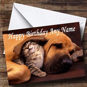 Sleeping-Dog-amp-Kitten-Personalised-Birthday-Greetings-Card