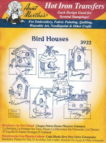 Bird Houses Aunt Martha/'s Hot Iron Embroidery Transfer #3922