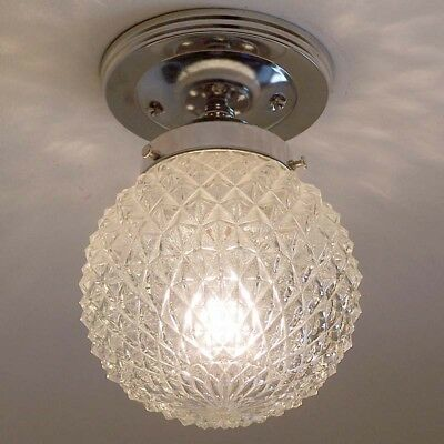 694z Vintage Hobnail Ceiling Light Lamp Fixture Glass  bath hall porch