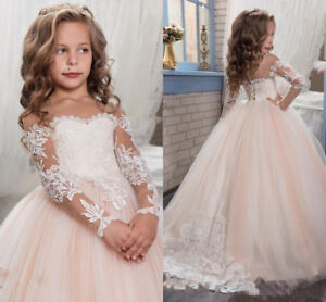 Princess Vintage Lace Applique Flower Girl Dress Pageant Ball Gowns