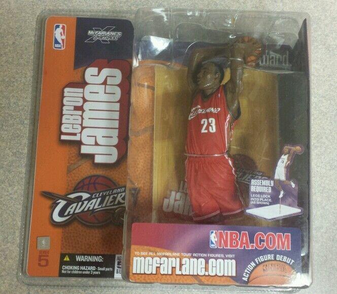 Lot of 2  NBA McFarlane LEBRON JAMES Cavaliers Heat Rookie Red+White versions