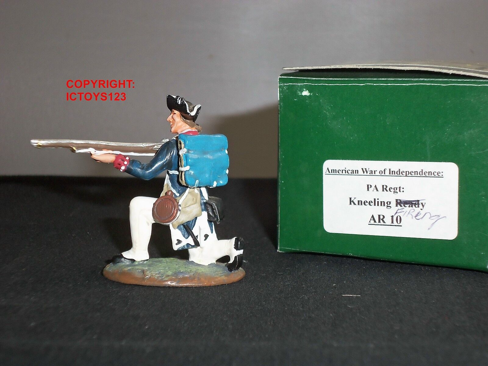 KING AND COUNTRY AR10 AMERICAN REVOLUTION PA REGIMENT KNEELING FIRING FIGURE