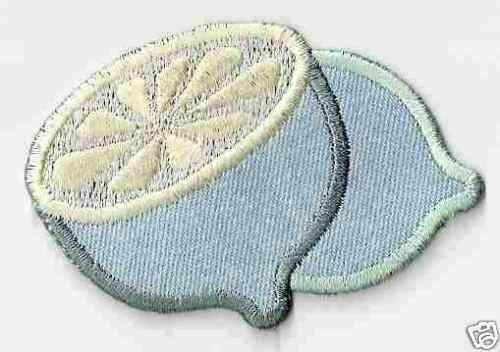 """3/"""" Light Blue Denim Lime Embroidery Patch"""
