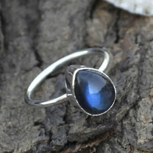 AAA-Blue-Fire-Labradorite-Gemstone-925-Sterling-Silver-Handmade-Tiny-Ring-Size