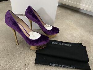 Nicholas-Kirkwood-Purple-Velvet-Gold-Shoes-Size-40