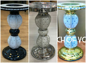 Black-Silver-Mirrored-Table-Modern-Flower-Stand-Bed-Side-Sparkle-Romany-Mosaic