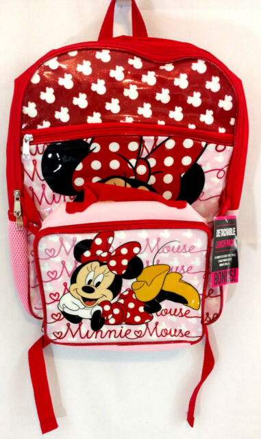 3a58ffd0a7b Minnie Mouse Backpack Lunchbag Combo Large 16 Inch Red Pink Glitter Sparkle