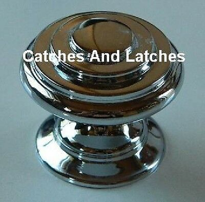 Polished Chrome Cabinet Knob Handles 30mm Diameter with Screws