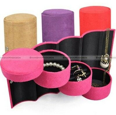 Cosmetic Storage Display Gift Case Jewellery Boxes Round Drum Shape Style