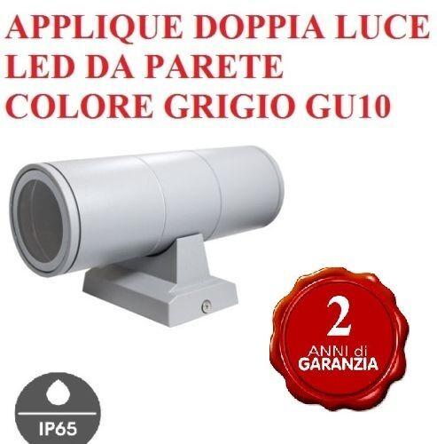 APPLIQUE LAMPADA PARETE LED ESTERNO IP65 GRIGIO NERO BIANCO DOPPIA LUCE GU10 NEW