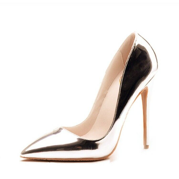 Womens Pointy Toe Shinny Leather Leather Leather Stilettos High Heel OL Pumps shoes Hot Sale Sz 09765c