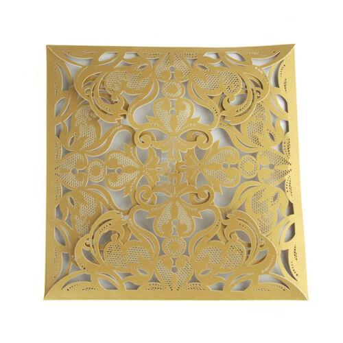 Paper Square Laser-Cut Pearlescent Scroll Swirl Invitations 6-1//4-Inch 8 count