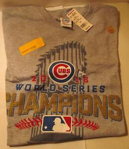 Chicago-Cubs-2016-World-Series-Champions-Mens-Size-Large-Gray-T-Shirt-Delta