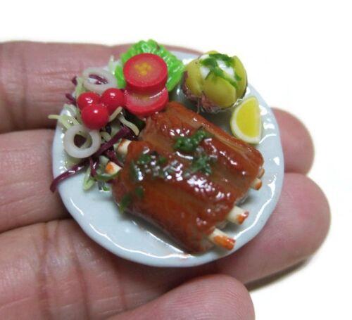 3.50 cm Dollhouse Miniatures Lamb Steak Salad Tomato Food on Plate  6