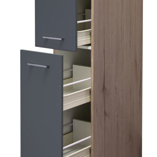 Basaltgrau Matt 5 Körbe Küchen-Apothekerschrank TURIN 2 Front-Auszüge