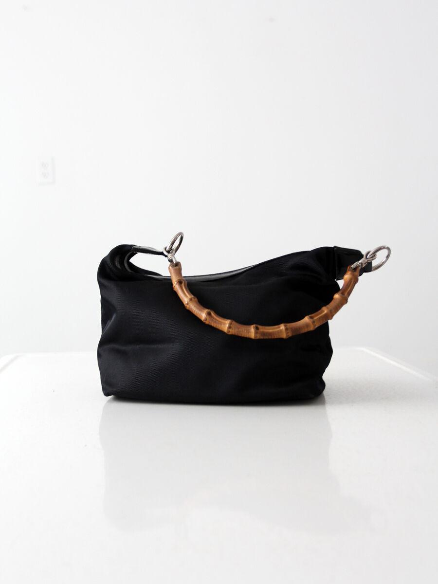 Gucci diana bag with bamboo handle, black nylon s… - image 2