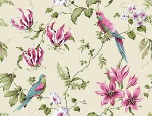 Wallpaper-Designer-Pink-Lavender-Green-Aqua-Tropical-Floral-Parrots-on-Cream