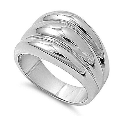 Rhodium Plated Freeform Wave Ring Artistic Unique Fashion Design New Sizes 6-10