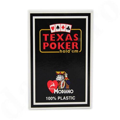 MODIANO Texas POKER Spielkarten 100/% Plastik 54 Blatt Black 2er Jumbo Index