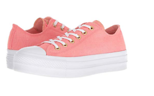 Rational Converse Women's Platform Lift Sneakers Pink Canvas Lo Tops 560675c Chuck Taylor Athletic Shoes