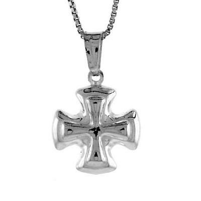 """18/"""" Italian Box Chain Made in Italy Sterling Silver Cross 3D Pendant Charm"""