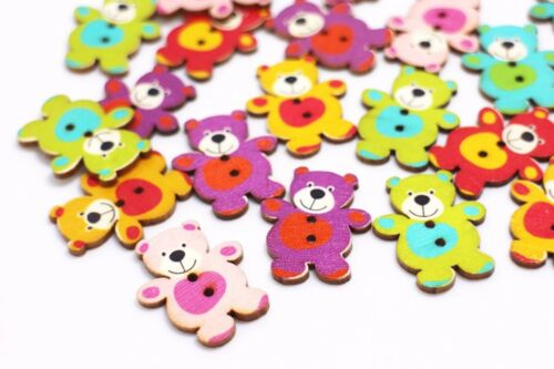Teddy Bear Wooden Buttons Large Two Holes Mixed Colors Animal Shaped 30mm 20pcs