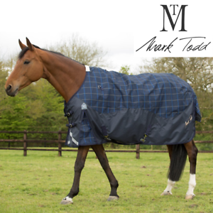New Style Mark Todd LIGHTWEIGHT  PLAID TURNOUT RUG 0g 600d Navy 5'6'' - 7'0''
