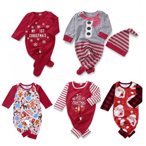 Neu Weihnachten SCHLAFANZUG Baby Strampler Einteiler Overall
