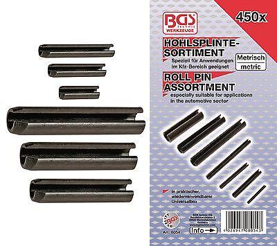 BGS! Hohlsplinte Federstifte-Sortiment 450-tlg Federsplinte Feder+Spannhülsen