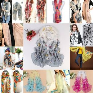 a999dd80ededb Women Long Neck Large Scarf Wrap Shawl Pashmina Soft Scarves Chiffon ...