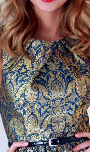 Single NWT $194 Gold /& Blue Jacquard Dress