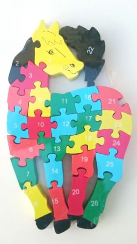 Wooden jigsaw//puzzle steed with numbers and letters,colorful educational toy