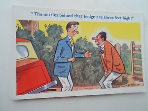 Vintage-Comic-Postcard-NETTLE-STING-HUMOUR-Artist-Signed-TROW-4732-Unused