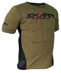 SKARR-Paintball-Body-Armour-OLIVE-GREEN-Padded-Bounce-Vest-Airsoft-Chest-Protect