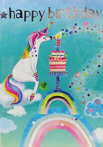 Mila Marquis Glückwunschkarte Geburtstag Einhorn Regenbogen Torte