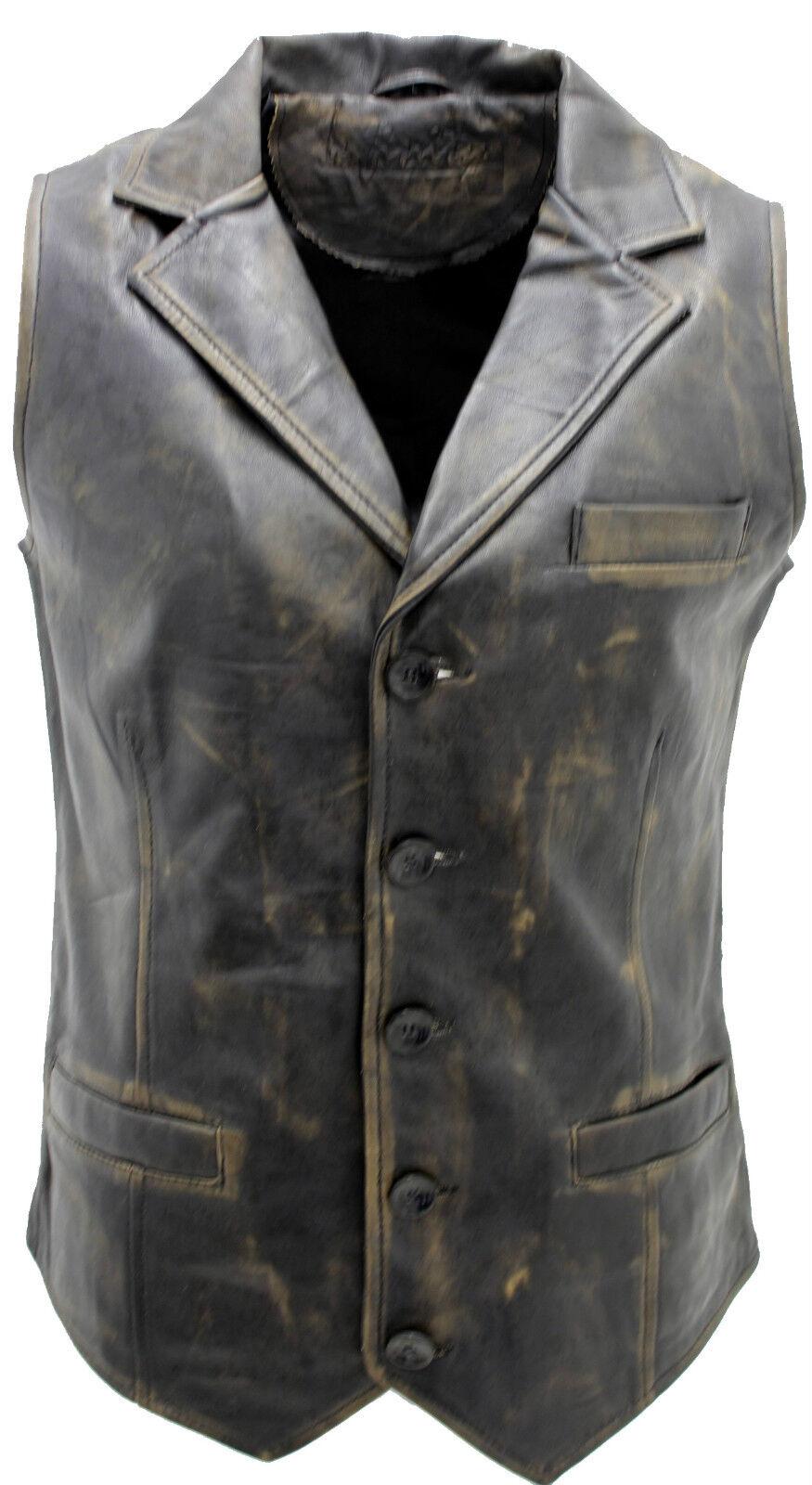Herren Klassisch Elegant Vintage Schwarz 100% Lederweste